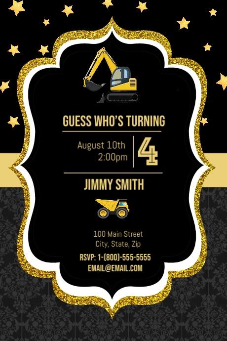 Construction Birthday Party Grafik Pinterest template