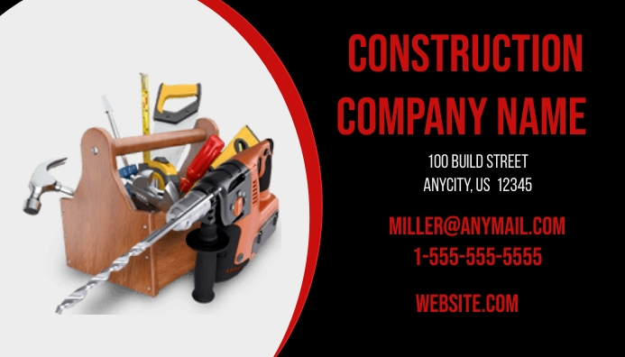 Construction company business card template postermywall construction company business card customize template wajeb Image collections