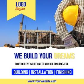Construction flyer Instagram Post template