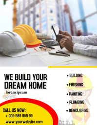 Construction poster Pamflet (Letter AS) template