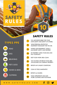 Construction Work Safety Guidelines Poster