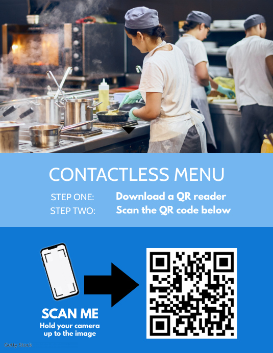 Contactless Menu Poster Flyer (US Letter) template