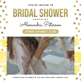 Contemporary Bridal Shower Invitation Square