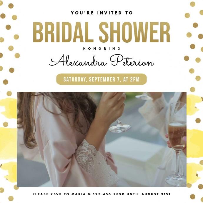Contemporary Bridal Shower Invitation Square