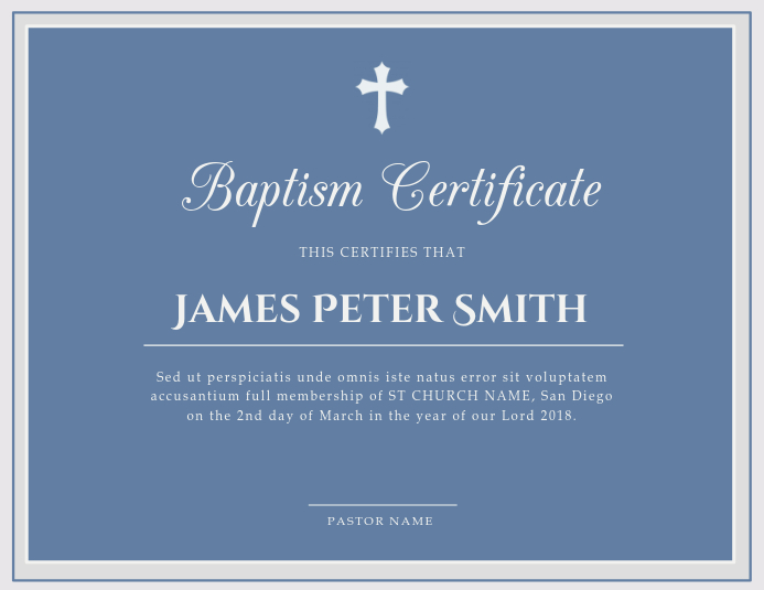 Contemporary Church Baptism Certificate