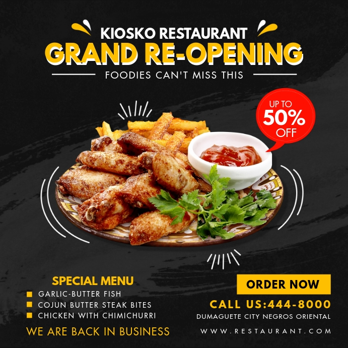 Continental Restaurant Grand Reopening Online Instagram-opslag template