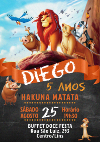 Convite Festa O Rei Leão - 001 A6 template