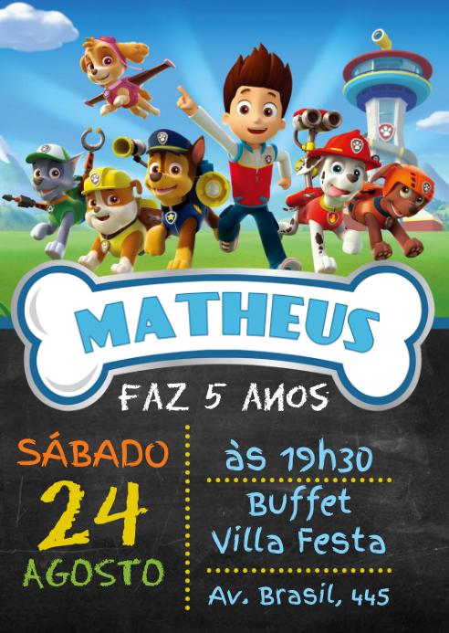 Convite Festa Patrulha Canina - 001 A6 template