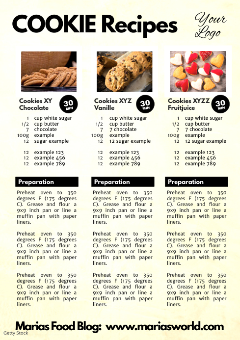Cookie Recipes Magazine Food Instruction Cooking Flyer