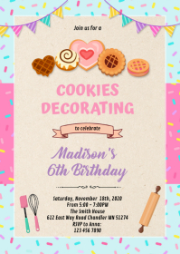Cookies decorate baking birthday invitation