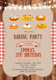 Cookies decorating birthday party invitation