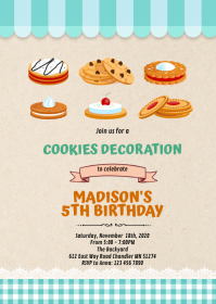 Cookies Making party invitation A6 template
