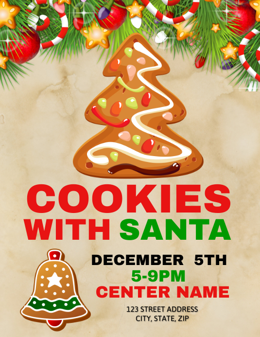 Cookies With Santa Template Postermywall