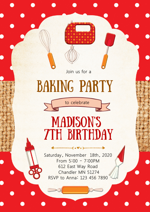 Cooking birthday party invitation A6 template