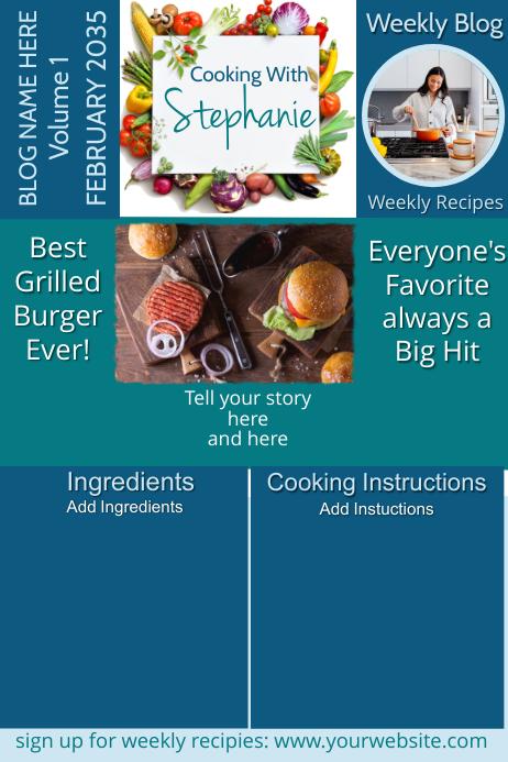 Cooking Blog Newsletter Grilled Burger Plakat template