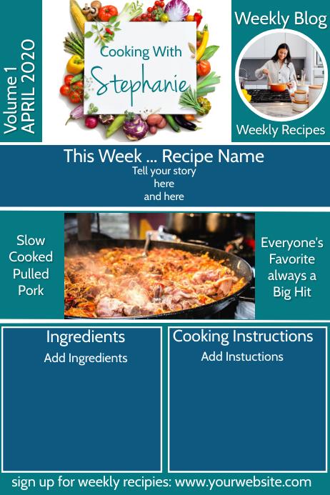 Cooking Blog Newsletter Плакат template