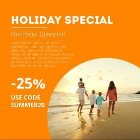 Holiday Blog Template Video Advert Marketing Vierkant (1:1)