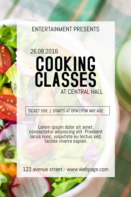 Cooking Class Classes Course Event Poster Flyer Template Postermywall