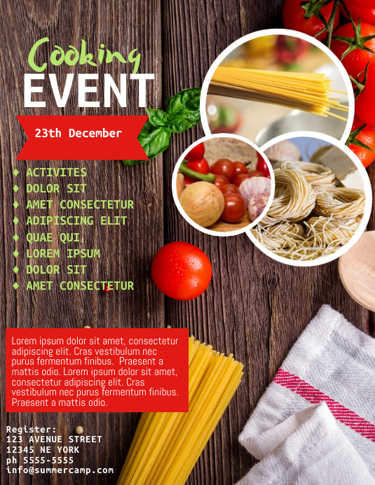 Cooking Classes Event Flyer Template