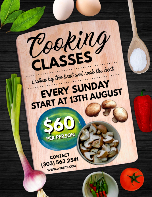 Cooking Classes Flyer Pamflet (Letter AS) template