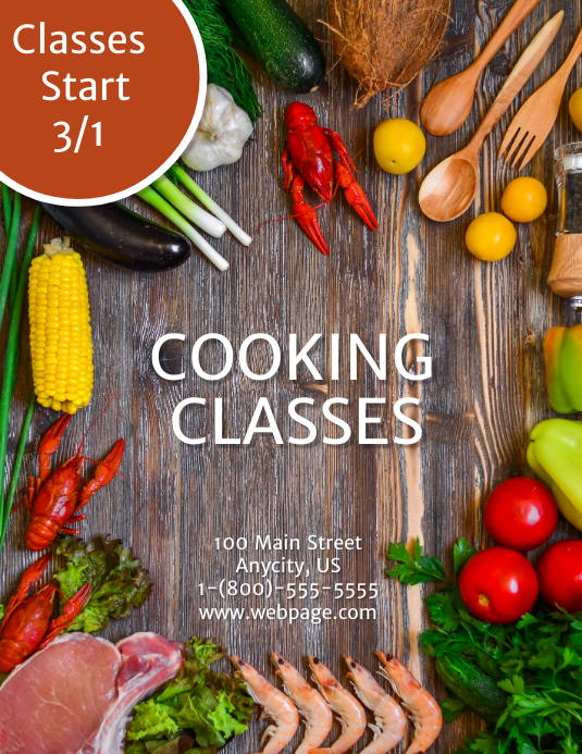 Cooking Classes Template Postermywall