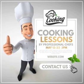 Cooking Lessons โพสต์บน Instagram template