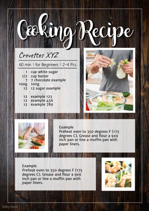 Cooking recipe Menu Dinner Food manual blog A4 template