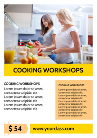 Cooking Workshop Course Lesson Flyer Advert A4 template