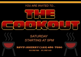 cookout invite dinner bbq family grill Postkarte template