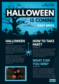 Cool Blue Halloween Newsletter A4 template
