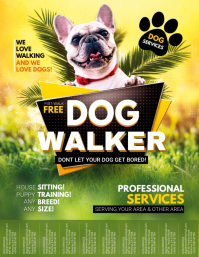 Cool Dog Walker Service Flyer Tear-off Tabs template
