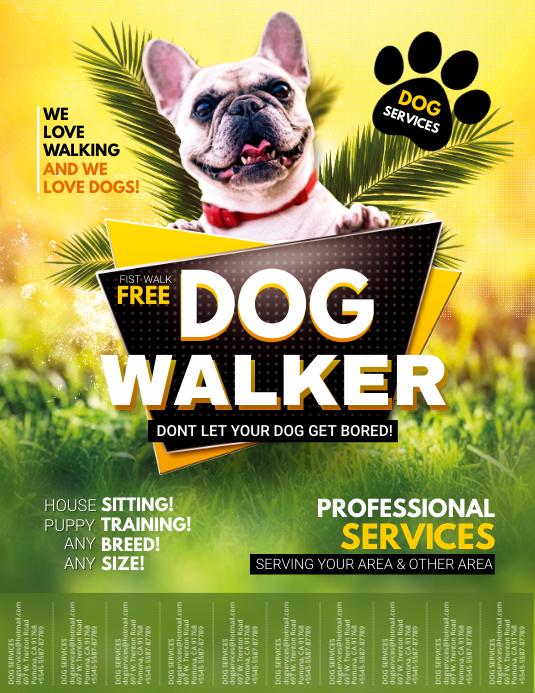 Cool Dog Walker Service Flyer Tear-off Tabs template