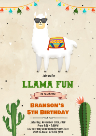 Cool Llama fun birthday Invitation A6 template