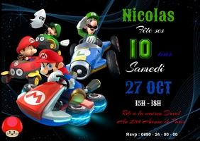 Invitation anniversaire Mario kart A6 template