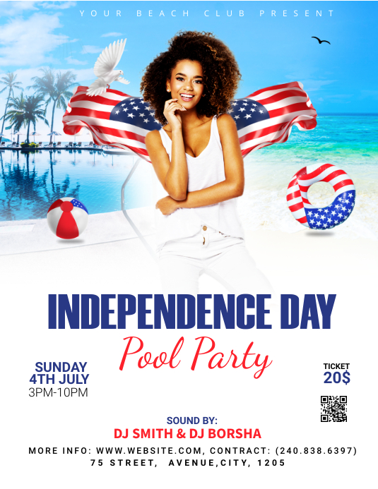 4TH OF JULY POOL PARTY 传单(美国信函) template