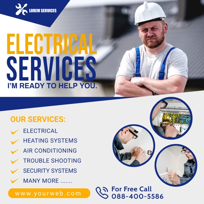 Electrical Service Flyer Poster Temp Cuadrado (1:1) template