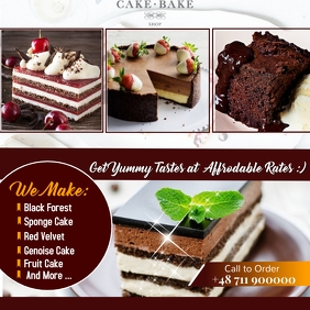 BAKERY CAKE SHOP FLYER POSTER offer Wpis na Instagrama template