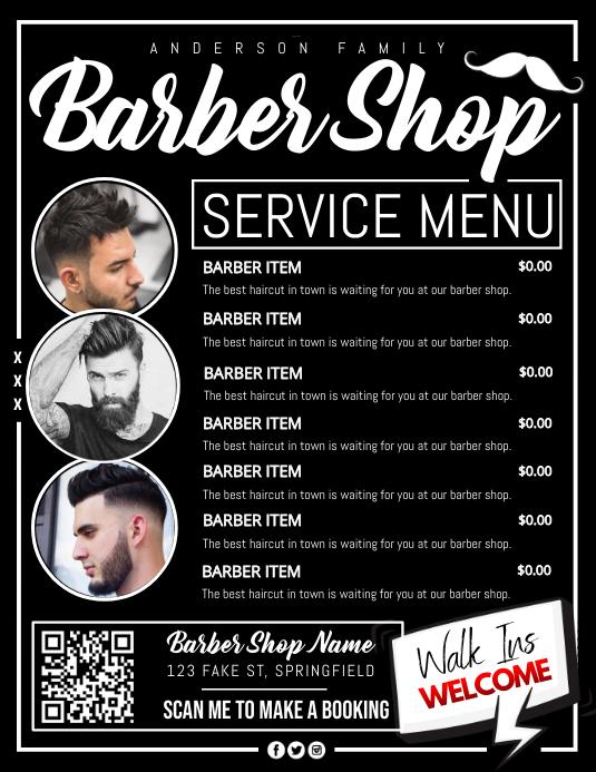Barber Shop Service Menu Poster Løbeseddel (US Letter) template