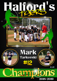 Baseball player poster A3 template