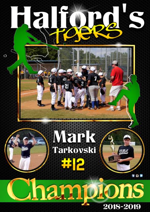 Baseball player poster A3 template
