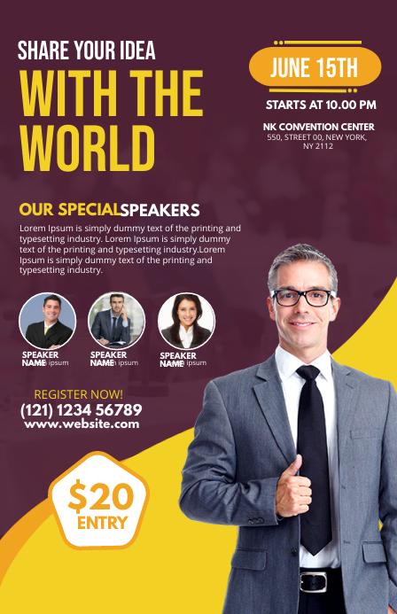 Business Conference Flyer ความกว้างแบบครึ่งหน้า template