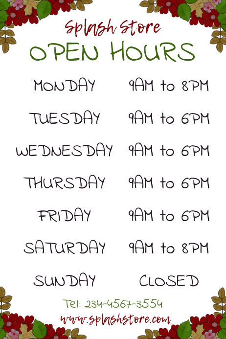 Copy of Business Opening Hours Poster Templat