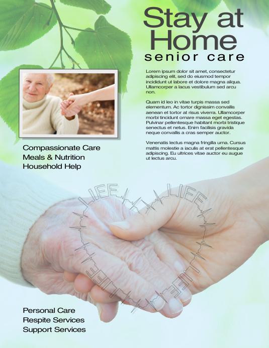 Caregiver Senior Care Flyer Template Volante (Carta US)
