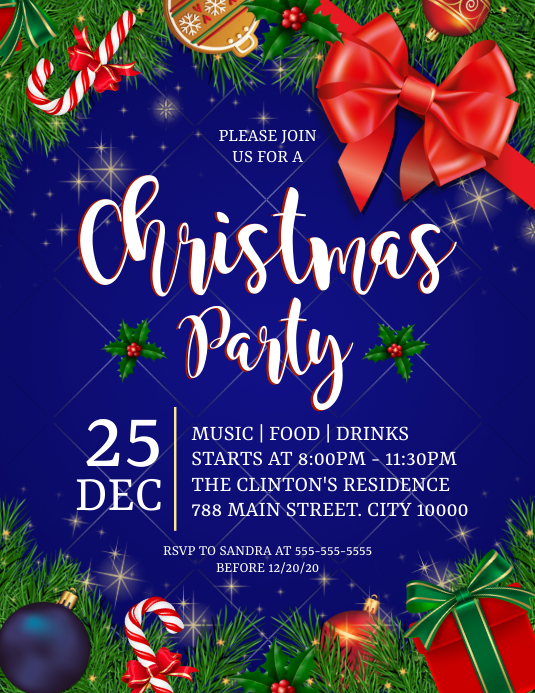 Christmas Party Pamflet (Letter AS) template