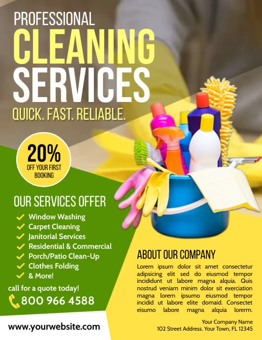 Cleaning Service Pamflet (Letter AS) template