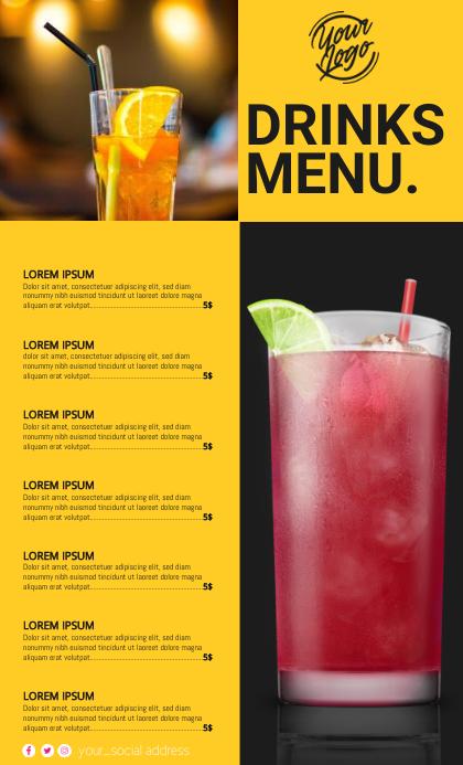 Cocktail Menu US Legal template