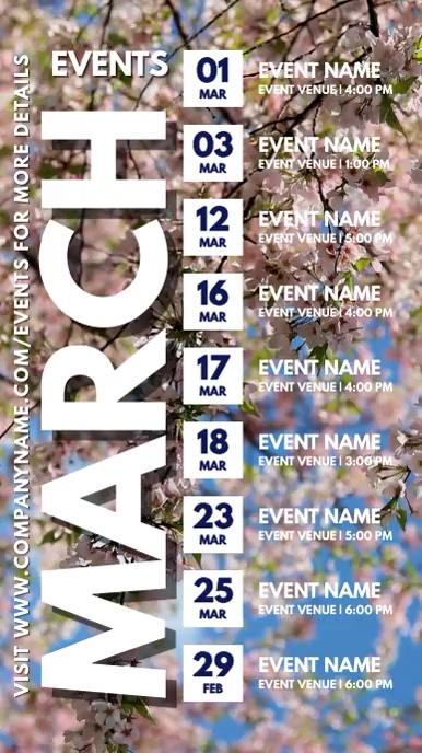 Spring Calendar Events Schedule Template Digital na Display (9:16)