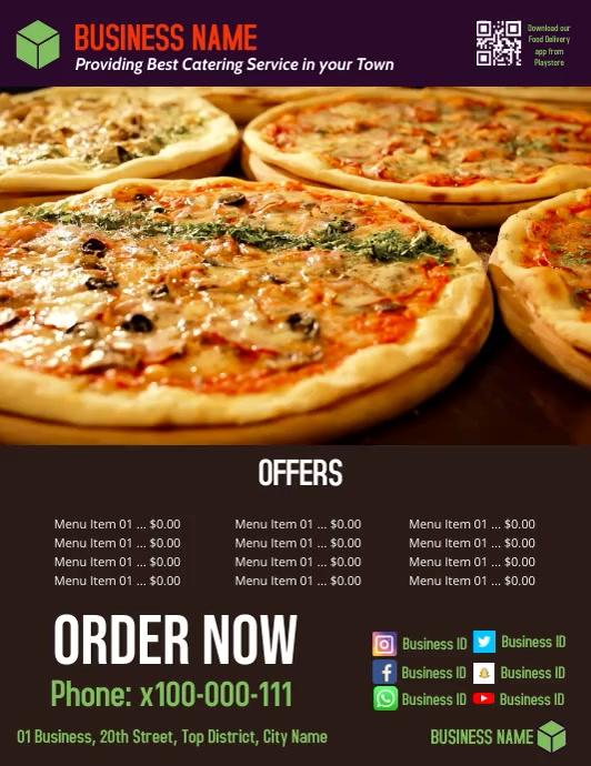 pizza2 Løbeseddel (US Letter) template