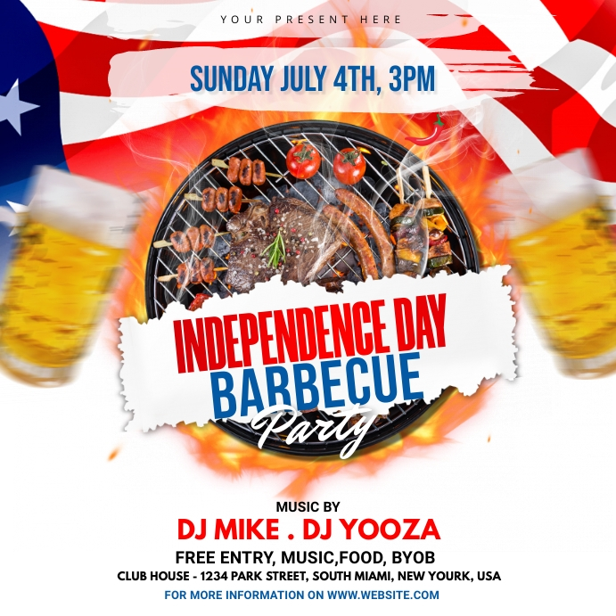 Independence Day BBQ Party Instagram 帖子 template