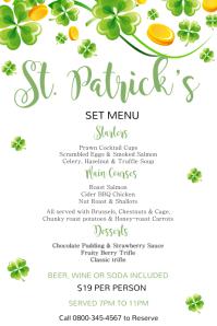 St Patrick's Day Menu Template